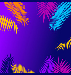 summer background card with palm branch leaf vector image