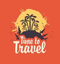 Summer travel banner with palm trees and surfers vector