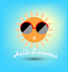 summertime hello summer funny sun with sunglasses vector image