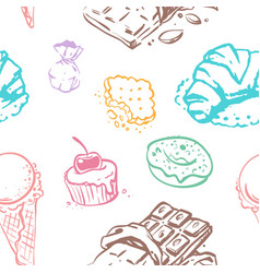 sweet desserts seamless pattern design vector image