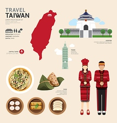 Taiwan Flat Icons Design Travel Concept vector