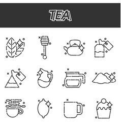 tea cartoon concept icons vector image