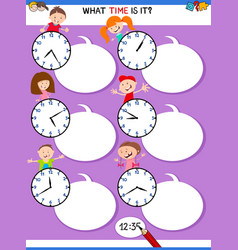Telling time educational task with kid characters vector