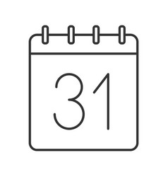 Thirty first day month linear icon vector