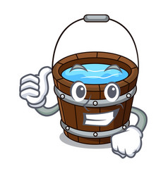thumbs up wooden bucket character cartoon vector image