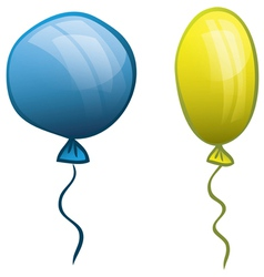 Two balloons Blue and yellow vector image