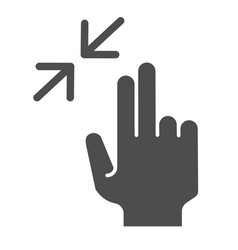 Two finger zoom out solid icon swipe resize vector