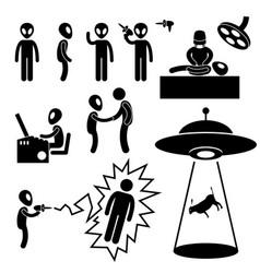 Ufo alien invaders stick figure pictograph icon vector