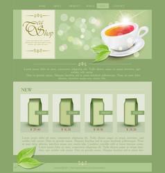 Website template tea shop vector