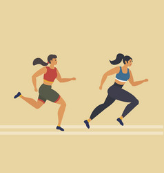 woman runs marathon athlete performs a race vector image