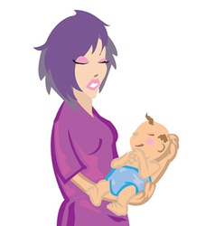 Woman with baby vector