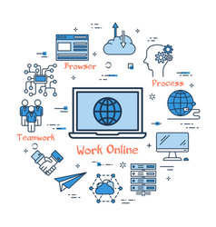 work online and teamwork in internet vector image