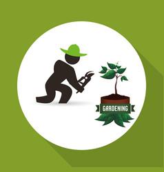 Worker design gardening icon white background vector
