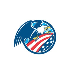 American Bald Eagle Clutching USA Flag Circle vector image vector image