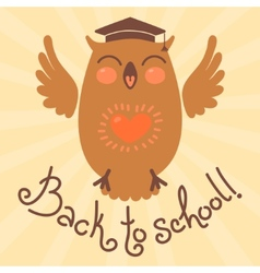 Back to school Card with an owl vector image