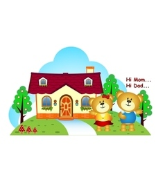 Bears brothers were in front of their home vector image
