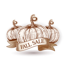 fall sale ribbon with sketch pumpkins vector image vector image