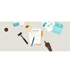 lawsuit paper hands pen gavel on desk vector image vector image