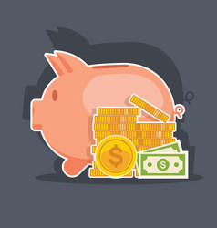 piggy bank and money tower flat vector image vector image