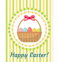 happy easter greeting card flyer poster with a vector image