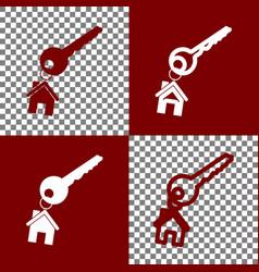 Key with keychain as an house sign bordo vector
