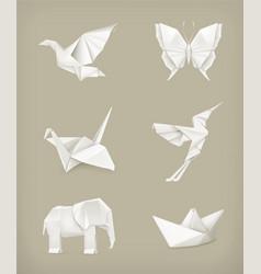 Origami set white vector image
