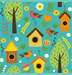 seamless pattern with houses for birds vector image vector image
