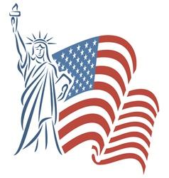 Statue of Liberty and USA flag vector image vector image