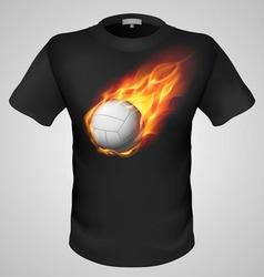 t shirts Black Fire Print man 28 vector image vector image