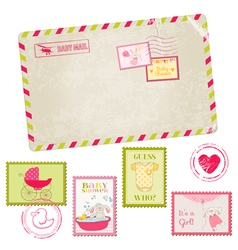 Baby Shower or Arrival Postage Stamps vector image