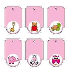 cartoon animals labels set vector image vector image