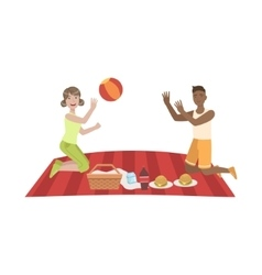 Couple Playing Ball On Picnic vector image vector image