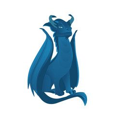 flat blue colored dragon with wings horns vector image