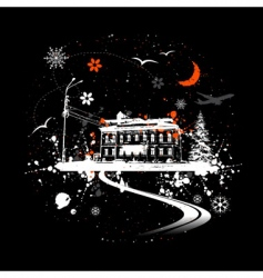 winter night and house vector image