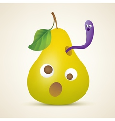 Funny yellow pear with worm vector image