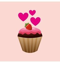 heart cartoon cupcake chocolate pink cream and vector image