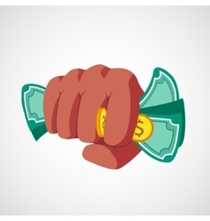 Punch fist with money vector