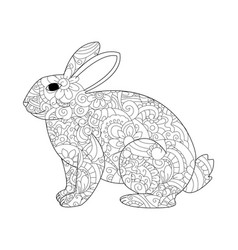 rabbit coloring for adults vector image vector image