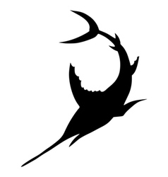 Silhouette of sword fish vector image vector image