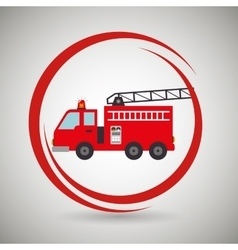 truck fireman rescue fire vector image