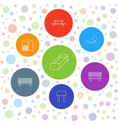 7 bench icons vector