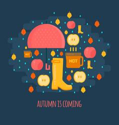 Autumn rain composition in flat style vector