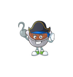 Baked beans in bowl with pirate mascot vector
