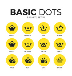 basket flat icons set vector image