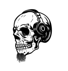 Bearded skull in headphones design element for vector