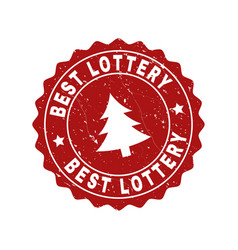 best lottery scratched stamp seal with fir-tree vector image