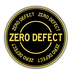 Black and gold color round sticker in word zero vector