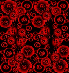 Black and red abstract background with circles vector image