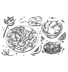 Black and white hand drawn of stinky tofu element vector