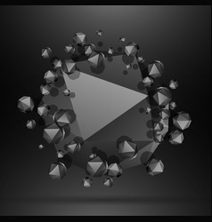 Black polygonal particles background vector